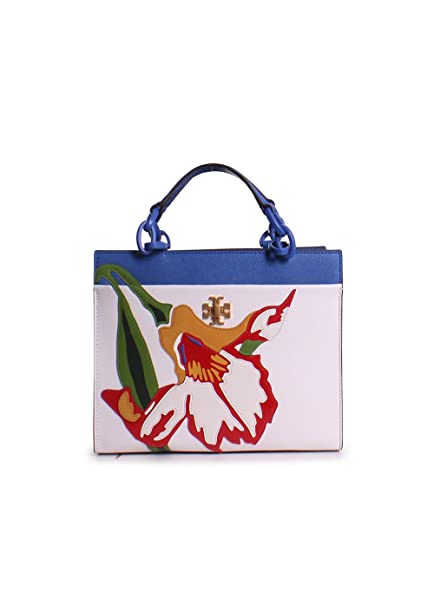 30c61a7d8ce Tory Burch Kira Leather Applique Floral Print Small Tote Handbag in Painted  Iris  Amazon.ca  Clothing   Accessories