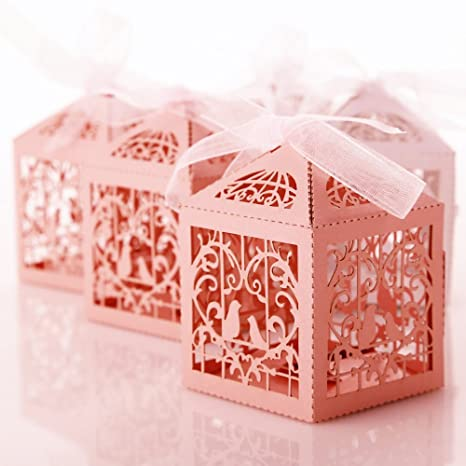 50pcs Cajas de Dulces Regalo Caramelos Decoración Pájaros Rosado para Boda Fiesta