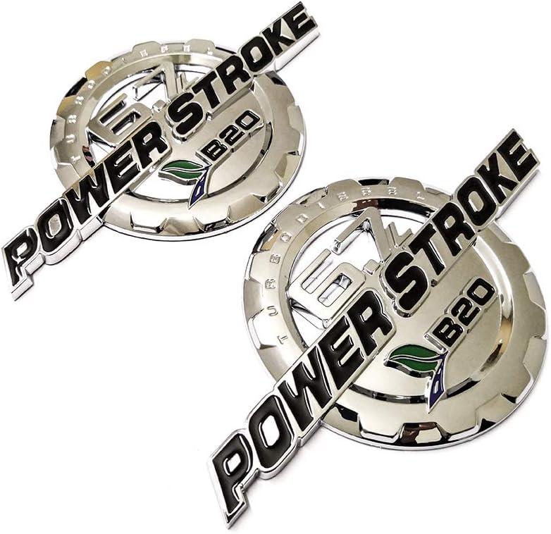 2pcs 6.7L POWER STROKE International Side Fender Emblems Badge Powerstroke Replacement for Chrome
