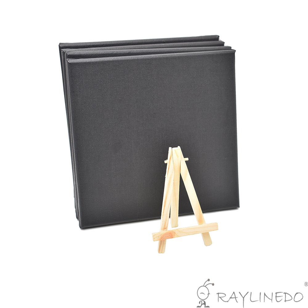 RayLineDo® Set of 4pcs Mini Artist Black Canvas Frame 8x8inch ( 20x20cm ) Oil Water Painting Board Flat Canvas with 1pc Mini Wood Display Easel