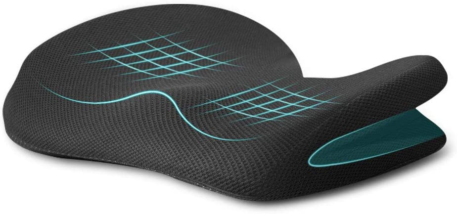 Ohiyoo Seat Cushion Pillow, Home Office Accessories,Memory Foam seat Cushion Lumbar Support for Office Chair, Car, Wheelchair, Memory Foam Pillow, Washable Covers (Black)