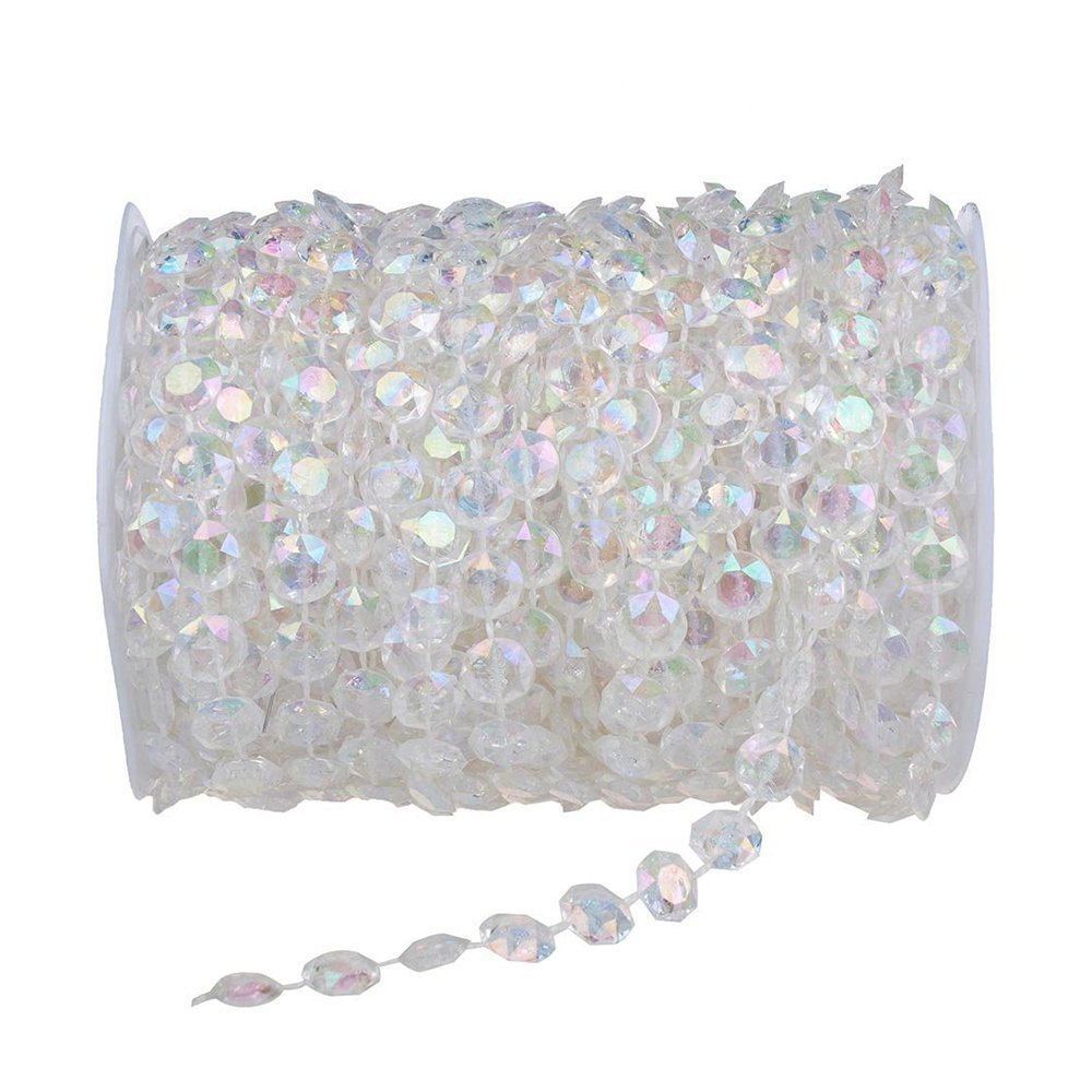 Type 1 Unilove 99FT Acrylic Plastic Crystal Clear Beads String for Chandelier Curtains for Doorways Decoration 1 Roll