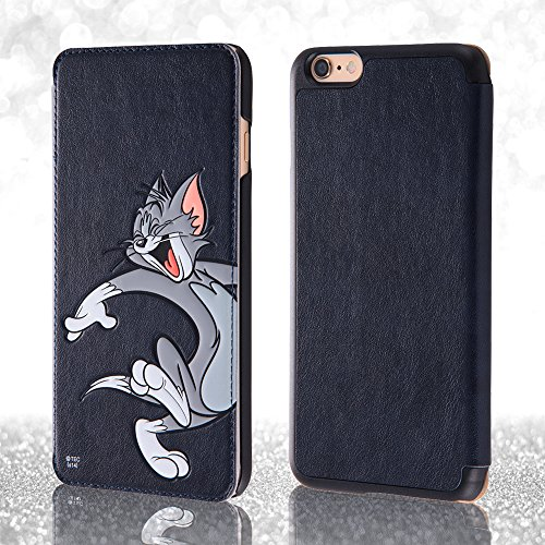 American Cartoon Characters Synthetic Leather Book Cover Style Case for iPhone 6 Plus (Tom and Jerry/Tom)