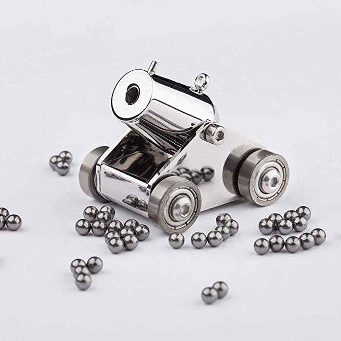 woobud Pocket Artillery Mini Cannon Military Model Kits Miniature Metal Scale Replicas with Pellets , Ramrod and Archaistic Wooden Box for Present Decoration Collection