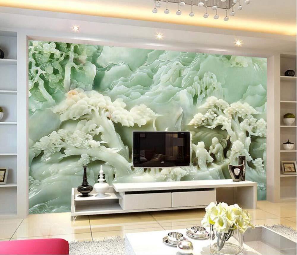 Papel tapiz mural moderno 3D Estéreo Escultura de jade Papel tapiz ...