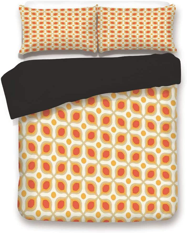 Black 3pc Bedding Set,Linked Bold Geometric Shapes 70s Vintage Style Minimalist Pattern Boho Home Decor King Size Duvet Cover Set,Printed Comforter Cover with 2 Pillowcases for Teens Boys Man
