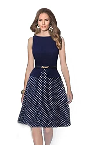 Babyonline Women's Polka Dots False Two Pieces Wear to Work A-line Party Dress