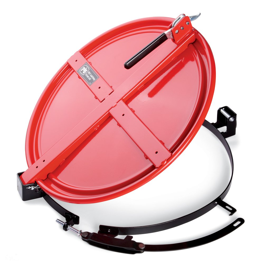 New Pig Latching Drum Lid with Fast-Latch Ring, For 55 Gallon Steel Drum, Easiest Installing Latching Drum Lid, 26'' L x 23'' W x 4'' H, Red, DRM1072-RD