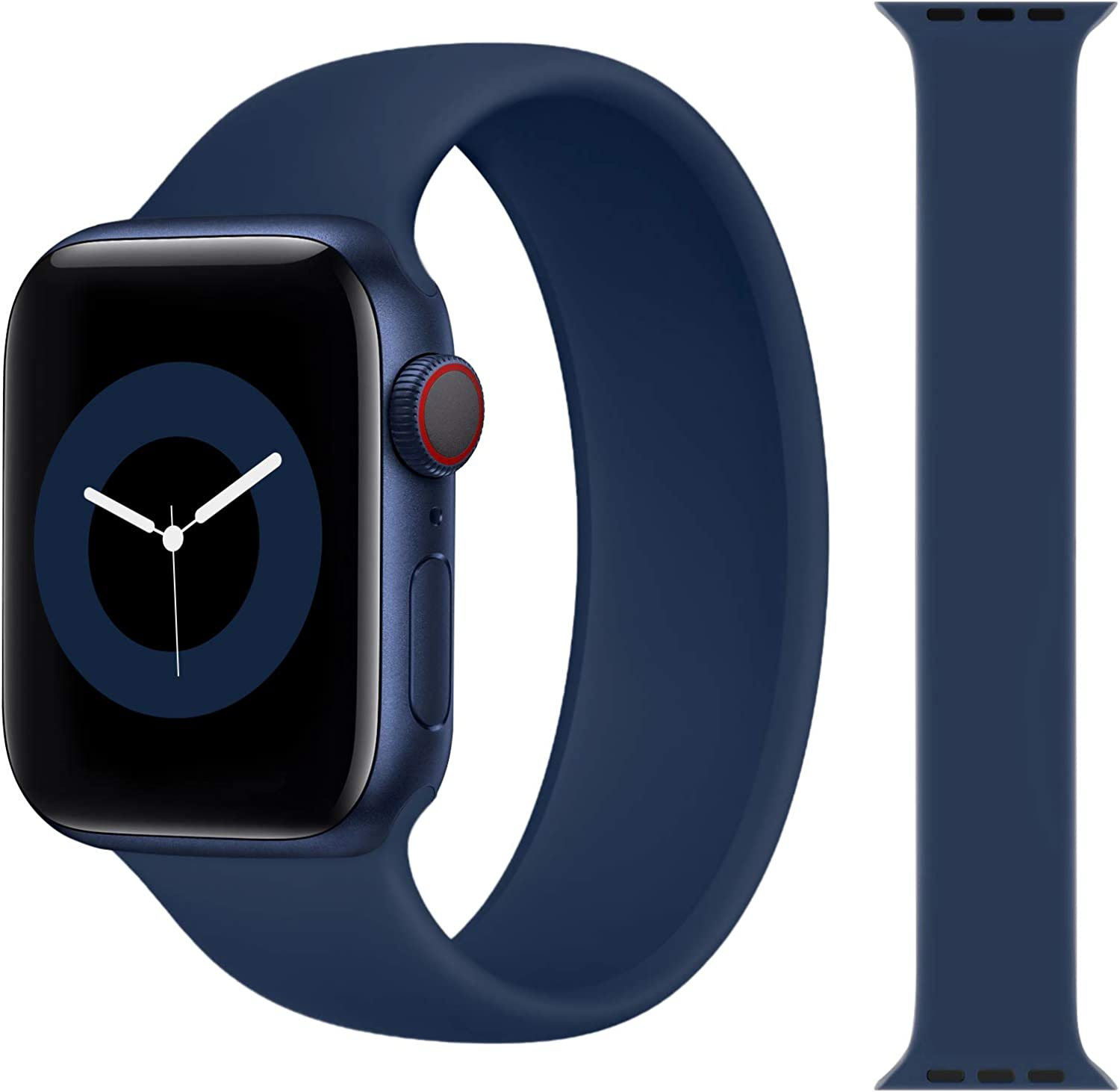 Solo Loop Strap Compatible with Apple Watch Band 38mm 40mm 42mm 44mm, Sport Elastics Silicone Apple Watch Bands Women Men, Replacement Wristband for iWatch Series 6 5 4 3 2 1 SE (Deep Navy 42S)