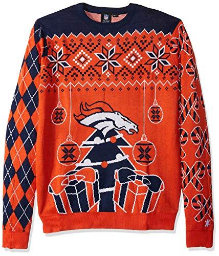 FOCO SWTNFSMUUGYHOL NFL Denver Broncos Mens Holiday Ugly Christmas Tree & Ornament Sweaterholiday Ugly Christmas Tree & Ornament Sweater, Team Color, Medium
