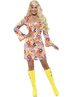 7e5ddfb7f36 Ladies Flower Fever Floral Hippy Hippie 60s 70s 1960s 1970s Decades Fancy  Dress Costume UK 4