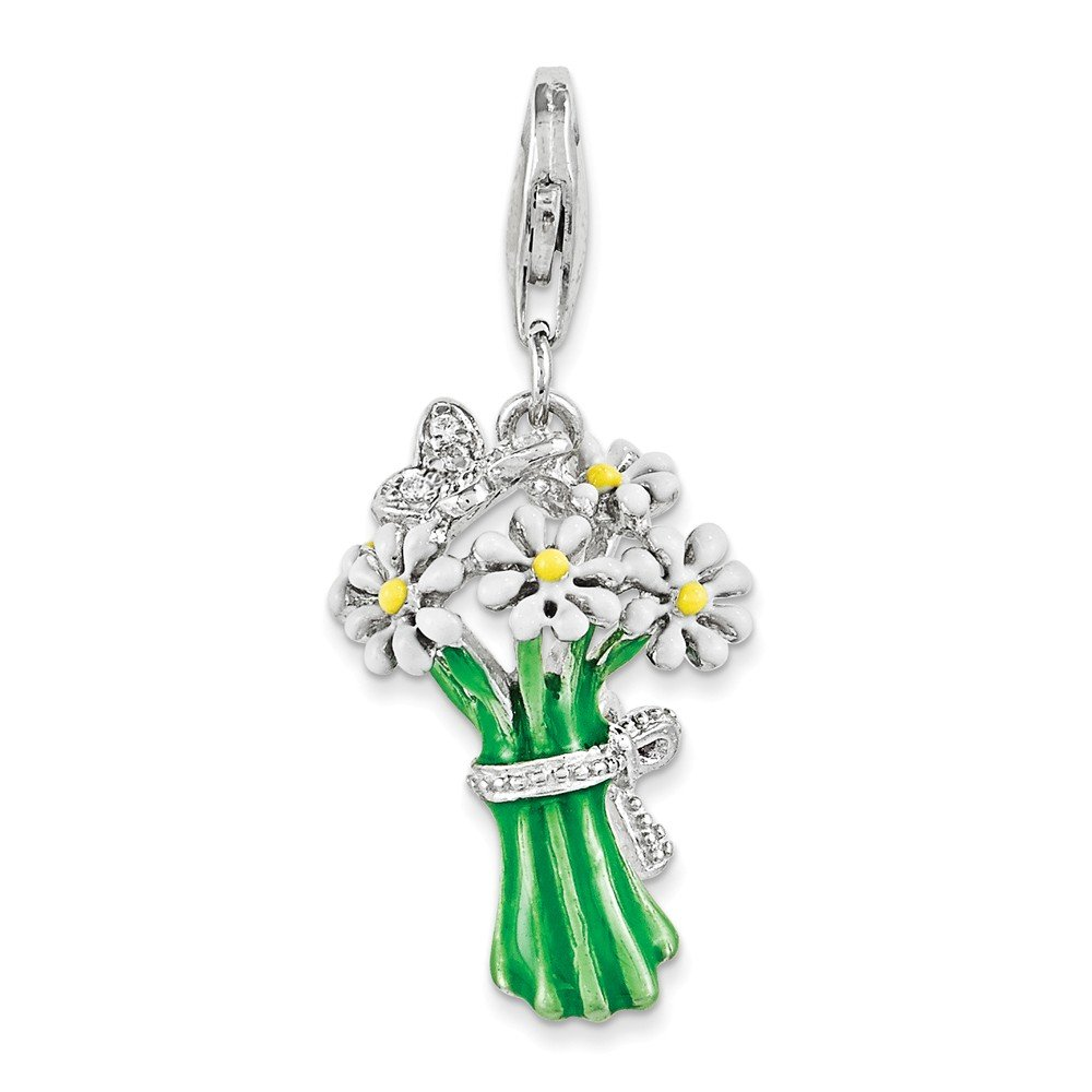 15mm x 22mm Jewel Tie 925 Sterling Silver Enameled Bouquet of Daisies with Lobster Clasp Pendant Charm