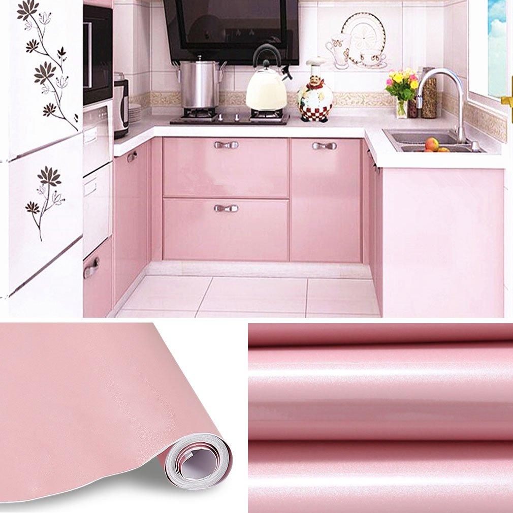 5M Papier Peint Adhésif Rouleaux Reconditionné Pour Armoires De Cuisine En  PVC Self Adhesive Autocollant Meubles Porte Mur Placards Stickers Mural  Rose: ...