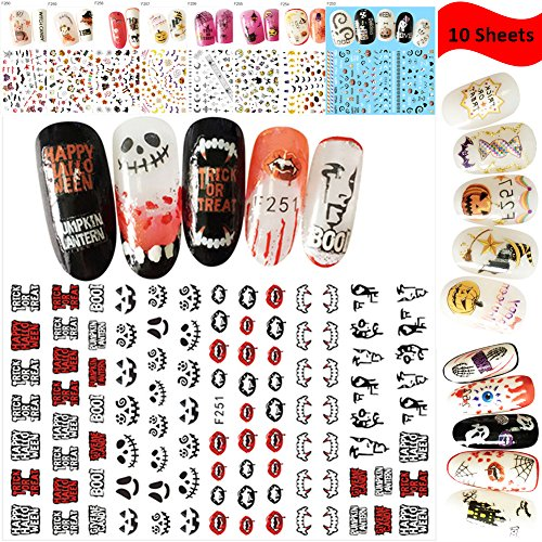Lookathot 10 Sheets Nail Art Stickers Decals Mixed color Nail DIY Decoration Tools Christmas Halloween (Halloween Pedicure Art)