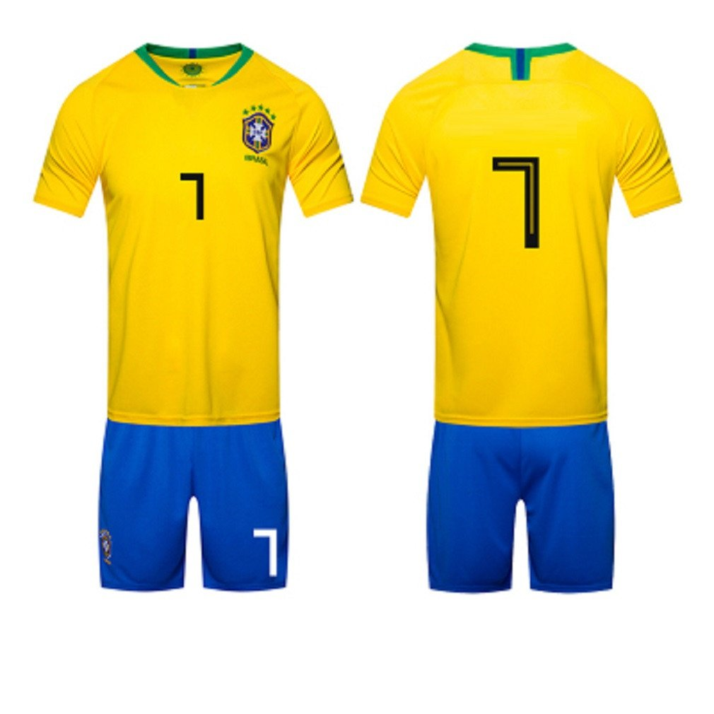 1 pack 2018 Football Uniform, Brazil Home Jersey Adult Shirt Training Team Served Away Goalkeeper Suit, 7,Soccer Game