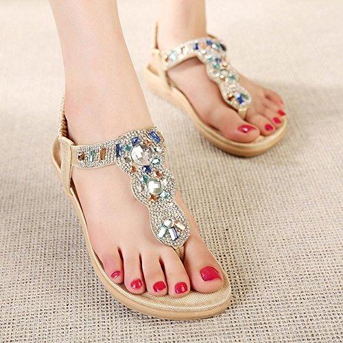 Sandalias del ms del rhinestone de las sandalias de las sandalias de las mujeres Gold