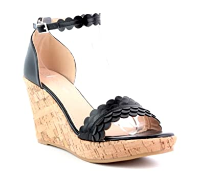 King Of Shoes Damen Mary Jane Riemchen Pumps Keilabsatz