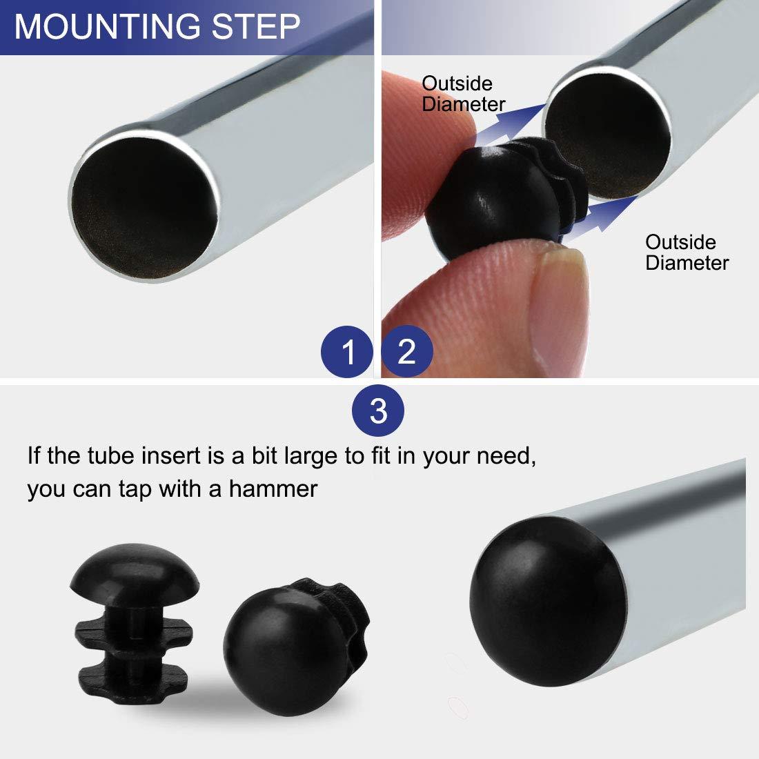 Sourcingmap 25 piezas 10 mm OD pl/ástico extremo redondo tubo inserto acanalado cubierta de tuber/ía negro piso Muebles Protector de pies 0.28-0.35 di/ámetro interior