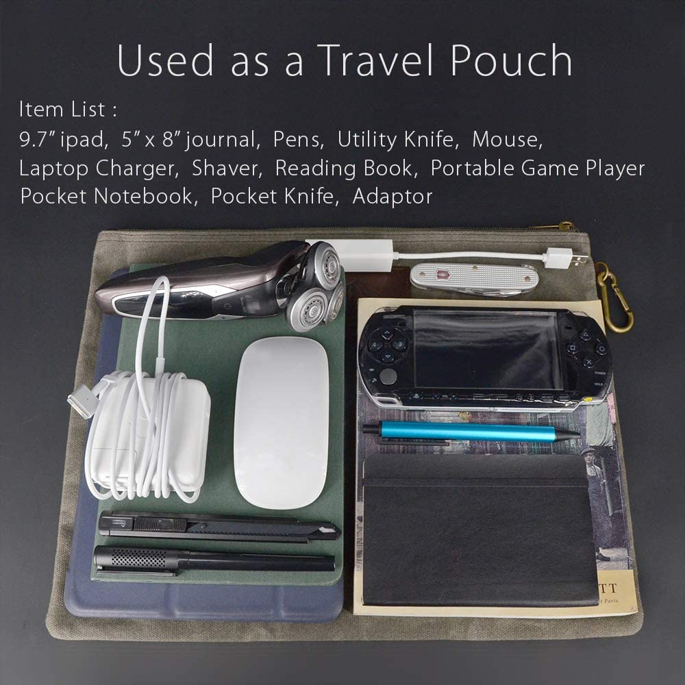 Travel Accessories Hold Your Books A4 Handouts Olive. Rustic Large Waxed Canvas Pouch with Full Grain Leather Inner Pockets Carabiner Fits Manila Folder Water Resistant Zipper Document Holder