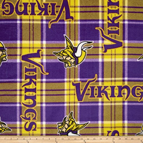 Fabric Traditions 0313546 NFL Fleece Minnesota Vikings Plaid Fabric by The Yard