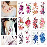 Flower Temporary Tattoos Stickers Lotus Cherry Blossoms Flash Tattoo Pack of 12 Sheets