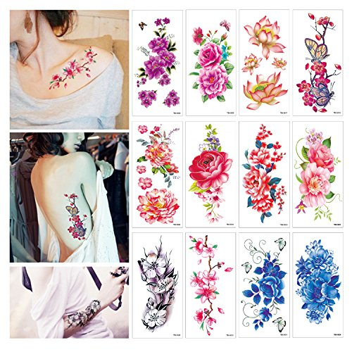 Tattoo Cherry (Flower Temporary Tattoos Stickers Lotus Cherry Blossoms Flash Tattoo Pack of 12 Sheets)