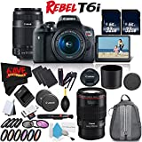 6Ave Canon EOS Rebel T6i DSLR Camera w/18-55mm Lens International Version (No Warranty) + Canon 55-250mm IS STM Lens + Canon EF 100mm f/2.8L Macro IS USM Lens 3554B002 + Deluxe Cleaning Kit Bundle