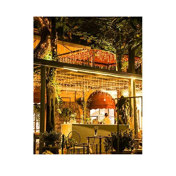 Elegear 4M Luci Natale Impermeabilità Tenda Luminosa Esterno Tenda Luci con 8 Programmi Decorazioni Natalizie per Balcone, Salotto, Giardino,Terrazza 6 spesavip