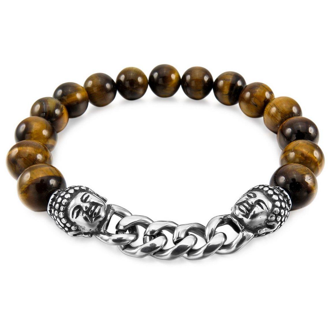 INBLUE Men,Women's 10mm Stainless Steel Energy Bracelet Link Wrist Simulated Stone Brown Buddha Mala Bead Elastic