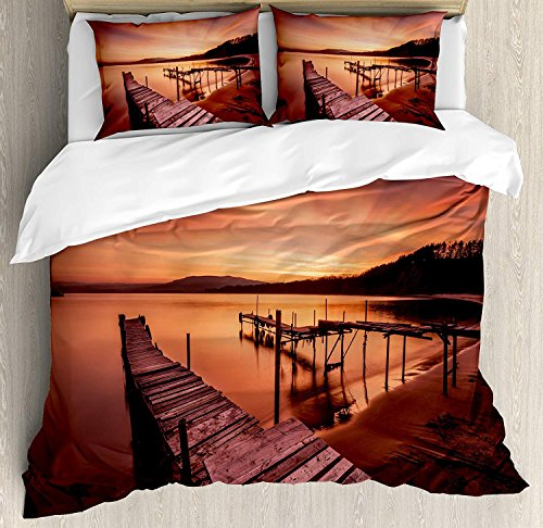 (4 Piece King Size Duvet Cover Set,Orange Old Rustic Pier Beach Romantic Tranquil Sky Twilight Concept,Bedding Set Luxury Bedspread(Flat Sheet Quilt and 2 Pillow Cases for)