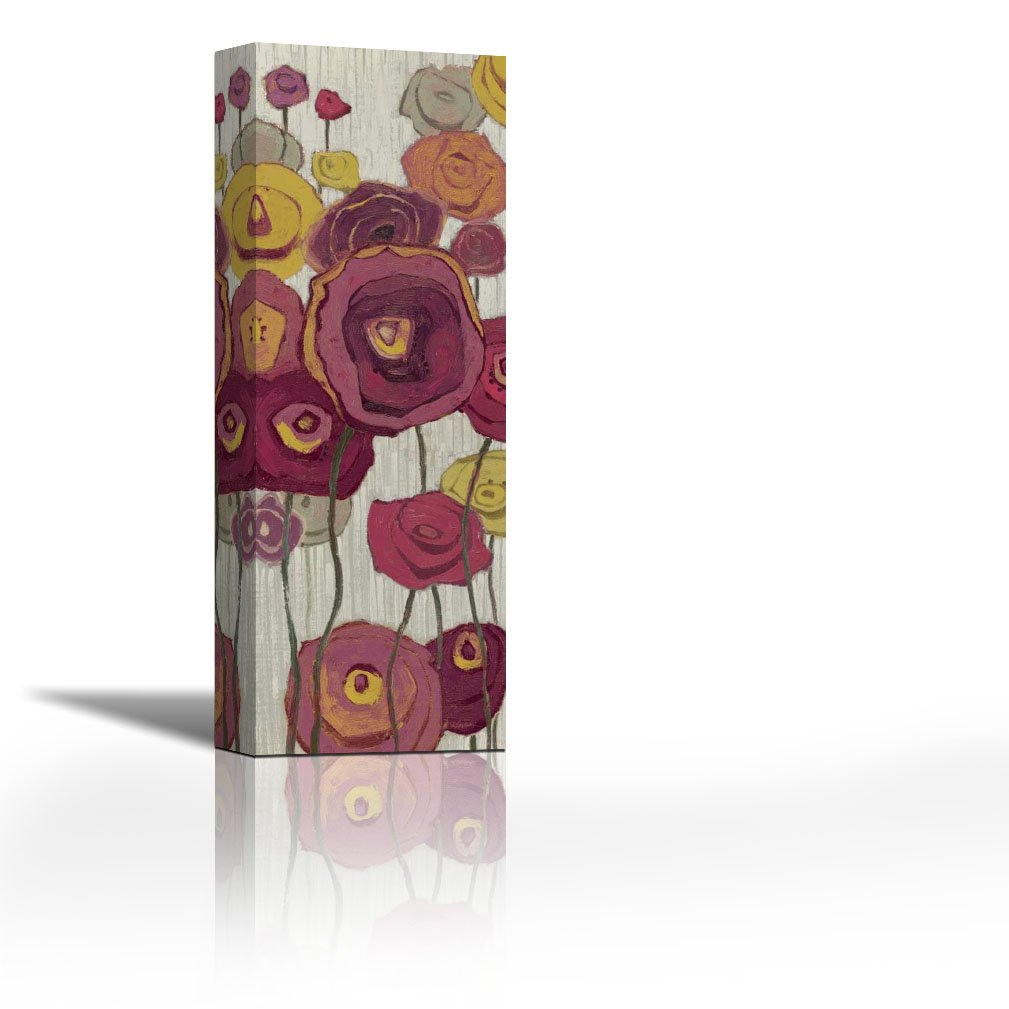 Karmakara Lemongrass In Plum Panel I Print On Canvas Floral Botanical Abstract Art Wall Painting For Living Room Bedroom Drawing Room Ready To Hang Image Size Is 7 X 22 Inch