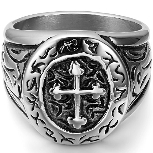 Flongo Men's Vintage Stainless Steel Irish Celtic Knot Cross Biker Engagement Wedding Band Ring, Size 10