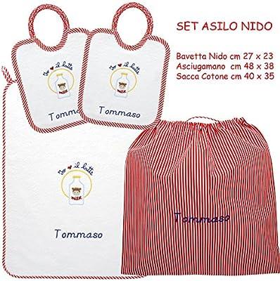 Asciugamani E Bavaglini Personalizzati.Coccole Set Asilo Nido Mucca Rossa 4 Pezzi 2 Bavaglini 1