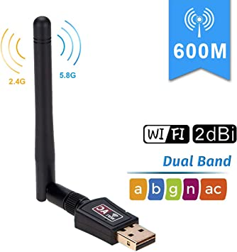 600Mbps Dual Band 2.4G 5G Wireless USB WiFi Network Adapter 802.11AC w//Antenna