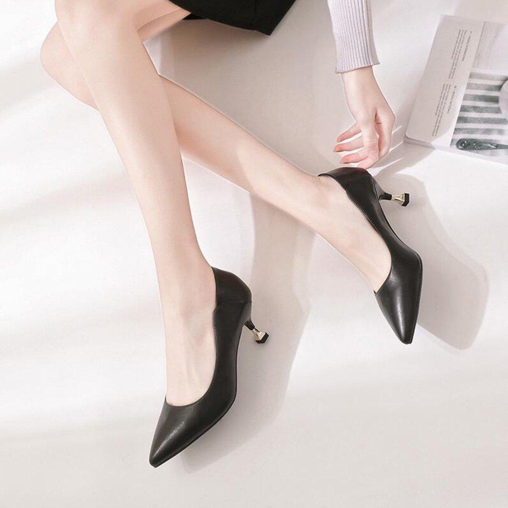 Spring Casual Schuhe Frauen Flacher Flacher Flacher Mund High Heels Weingläser mit Niedrigen Hilfe Tooling Schuhe (Farbe   Schwarz Größe   35) 26e0c0