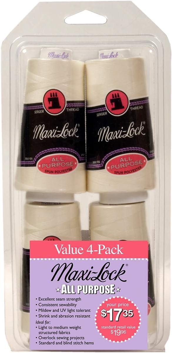 American Efird Maxi-Lock All Purpose Value Pack 4//Pkg-Eggshell
