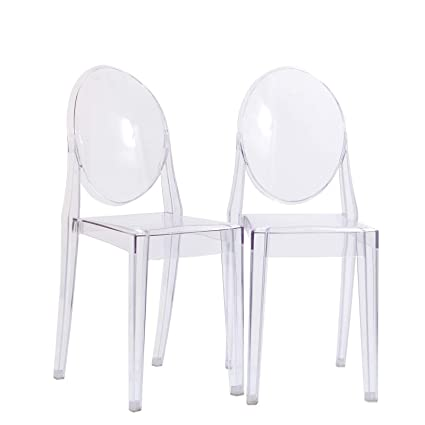 Modway Casper Modern Acrylic Dining Side Chairs in Clear - Set of 2