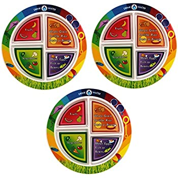 myplate divided kids portion plate 4 pack 4 fun balanced sections for picky. Black Bedroom Furniture Sets. Home Design Ideas