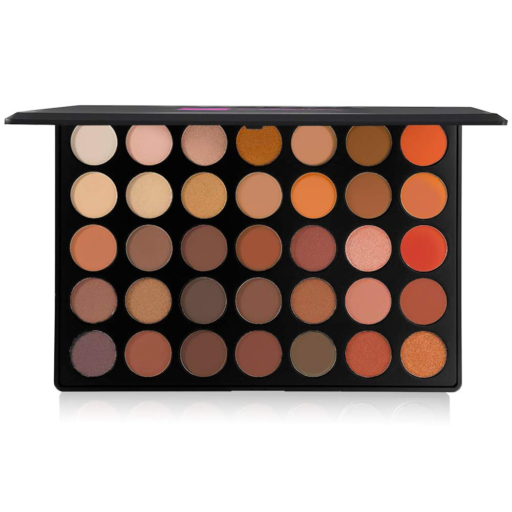 The Beauty Box Artist Eyeshadow Palette , 35 Color Blendable Pigmented Nude Warm Eyeshadow , Matte and Shimmer Makeup for Every Skin Tone , Cosmetics , Volcanic Collection