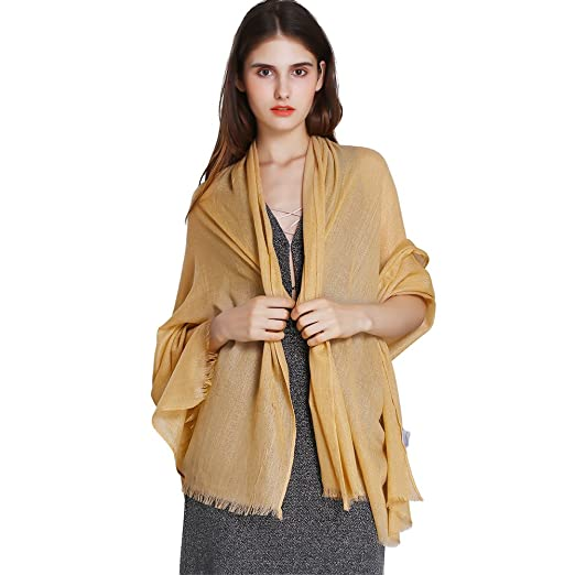 d881c241d237e Womens Glitter Metallic Wrap Shawl, Prom Evening Dress Sheer Bridal Scarf  Pashmina for Prom, Wedding, Party(Gold) at Amazon Women's Clothing store: