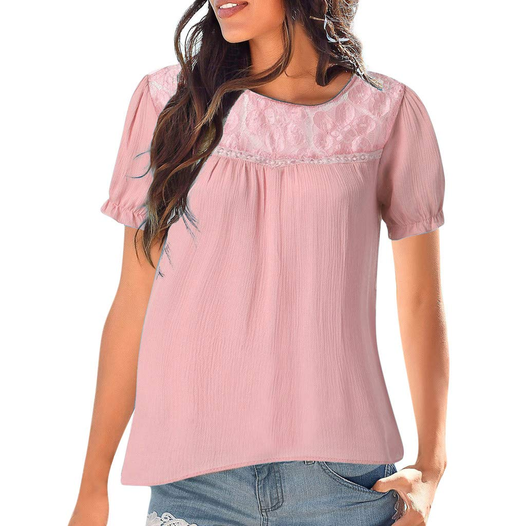 TOTOD Women Wild Classic Lace Patchwork Tops Casual O-Neck Short Sleeve Loose Blouse Pink