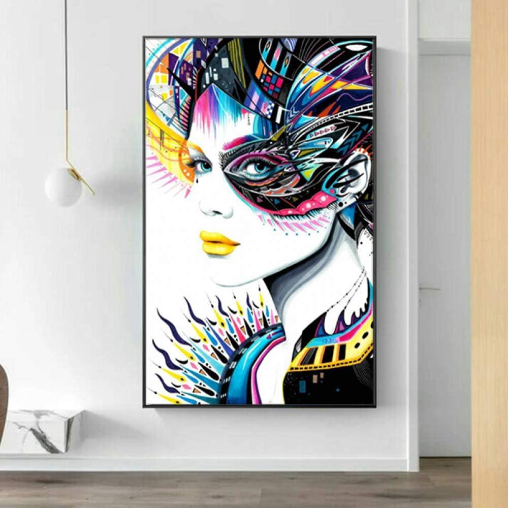 SADHAF Arte abstracto sexy girl lienzo pintura impresa en lienzo moderno colorido mural decoración A1 30x40cm