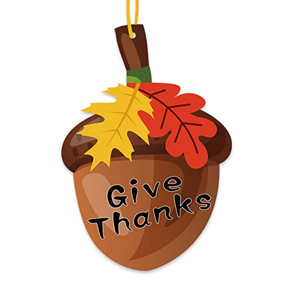 Give thanks acorn door hanger