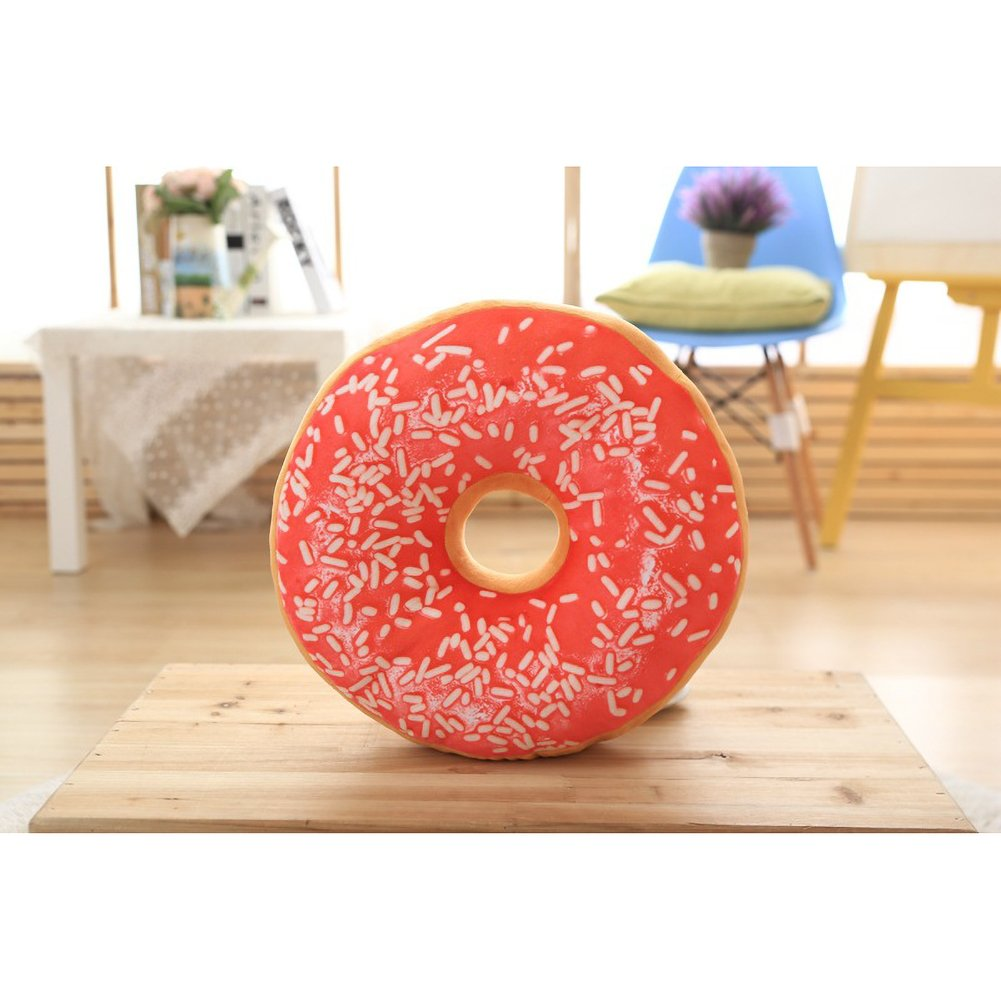 ChezMax Round Doughnut Donut Seat Back Stuffed Cushion Insert Filler Filling Throw Pillow Plush Play Toy Doll for Home Sofa Couch Lounge Decorative Decor Pink 16 X 16''