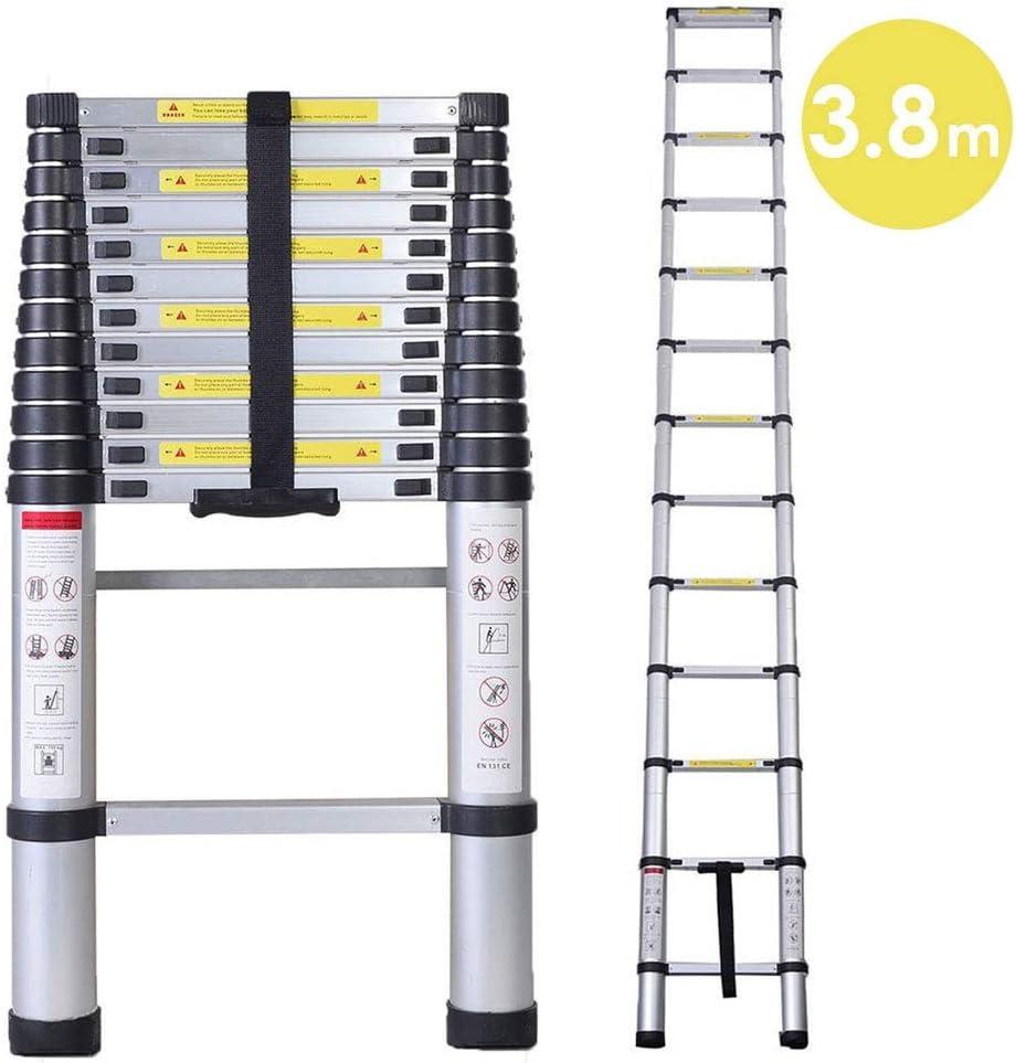 3.8m/12.5FT Escalera telescópica, multiusos, de aluminio, telescópica,Extensión telescópica de aluminio Escalera multifunción, extensible, 330 lb / 150 kg Negro plegable,: Amazon.es: Bricolaje y herramientas
