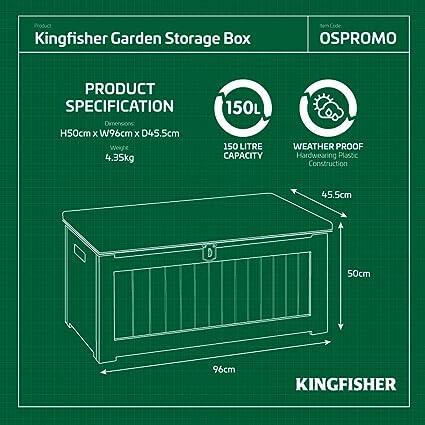 Kingfisher OSPROMO - Caja de almacenaje (150 L), color blanco y gris: Amazon.es: Jardín