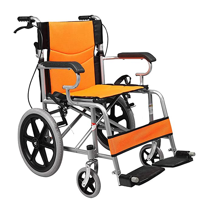 Amazon.com: Wheelchair Folding Backrest Handle, Lightweight Portable Solid Tire Elderly Pregnant Women Disabled Outdoor Travel,Orange: Garden & Outdoor