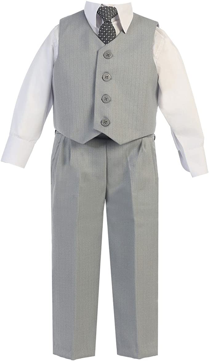 Lito Baby Boys Dark Gray Vest Pants Special Occasion Easter Outfit Set 6-24M