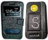 BKDT Marketing Diamond studded, Stone Glittering Flip Cover Case Stand for MICROMAX Bolt D303 with Dislay Window and Stand with Crystals Decoration