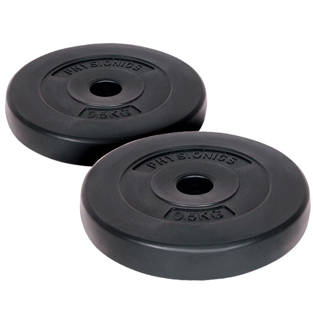 Physionics® HSTA14 - Pesas en Forma de Disco para Mancuernas (0,5 kg, 2 Unidades): Amazon.es: Deportes y aire libre
